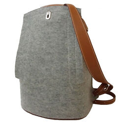 New Auth HERMES GR24 Sac A Dos Backpack Leather Felt Gray Brown Rare 2016's