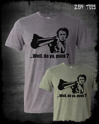 Dirty Harry Clint Eastwood Shirt Do You Feel Lucky Punk Retro Movie Gun Funny $15.74