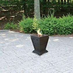 Tabletop Fire Pit Column Fireplace Propane Heater Slate Stone Electronic Outdoor
