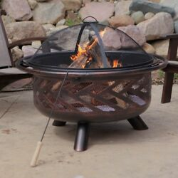 Fire Pit Red Ember Aspen Bronze Round with Grill Grate and Cover includes Poker