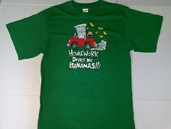 Boys Funny T Shirt Homework Drives Me Bananas Green Cotton Knit Chest 30 in. 6 7 $4.99