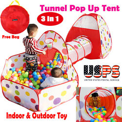 Childrens Toddlers Kids Pop Up Play Tent Tunnel Cubby House Indoor Playhouse USA