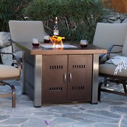 Fire Pit Table Gas Propane Outdoor Stand Patio Centerpiece With Lid Square Cover