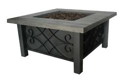 Outdoor Propane Fire Pit Table Steel Square Patio Deck Backyard Heater LP Gas