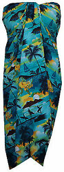 Sarong Allover Ocean scenic Flower Beach Swimsuit Wrap Plus Size Pareo $13.14
