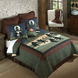 Donna Sharp Bear Dance Quilted Cotton King 6-Piece Country Cabin Bed Ensemble