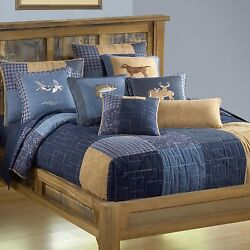 Donna Sharp Denim Square Quilted FullQueen 9-Piece Country Bedding Ensemble