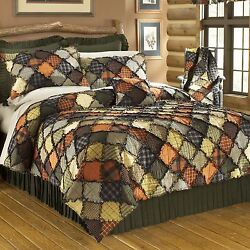 Donna Sharp Woodland Patchwork Quilted Cotton King 7-Piece Cottage Bed Ensemble