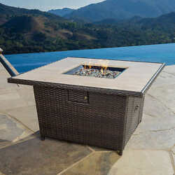 Fire Pit Table Propane Outdoor Backyard Patio Gas Heater Fireplace Resin Deck
