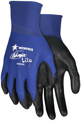 3 Pair Memphis Ninja Nylon Work Gloves with Polyurethane Coated Palm Small $11.45