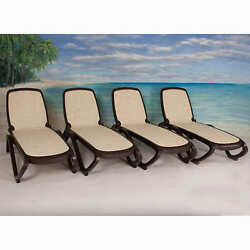 Pool Lounge Chair Outdoor Patio Furniture Beach Recliner Lounger Chaise 4 Piece