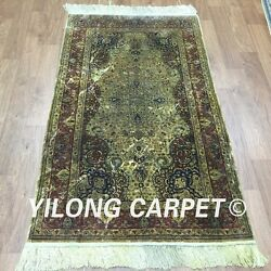 3'x5' Handknotted Antique Persian Silk Carpet Valuable Ancient Classy Rug YL22H