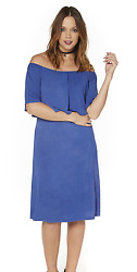Off the shoulder Jersey dress blue 1618 Summer Beach Holiday party dress $19.63