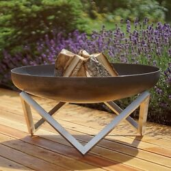 Memel Stainless And Rusting Steel Wood Burning Fire Pit Outdoor Patio Backyard