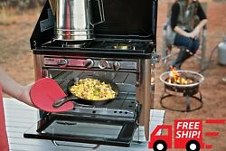 Outdoor Kitchen Oven Portable Gas Stove Camp Camping Propane Two Burner Pizza BT