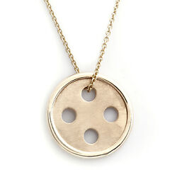 Best Button Pendant 14 Karat Yellow Gold w Cable Chain Necklace