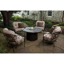 Fire Pit Chat Set 5 Piece Propane 4 Cushioned Chairs Outdoor Patio Furniture New