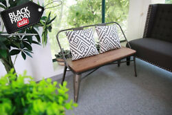 Industrial Home Garden Wooden Bench rustic Patio Rustic Lawn Park Leisure Chair