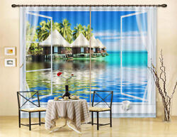 Warm Sea Cabin 3D Curtain Blockout Photo Printing Curtains Drape Fabric Window