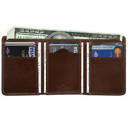 Mens Leather Tri Billfold Wallet Case with ID Italian Leather by Tony Perotti