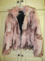 ST. JOHN GENUINE FOX Coat Small Pink Beautiful Marbled Zip Front by Marie Gray