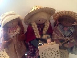 Lot of 3 Country Primitive Handmade Dolls - For Decoration Only by Jean-Alyce