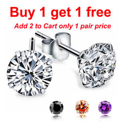 925 Sterling Silver White Blackor Silver Round Cut CZ Stud Earrings a pair