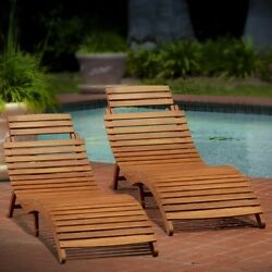 Wood Chaise Lounges Pair Set Of 2 Folding Patio Chairs Backyard Seating Poolside