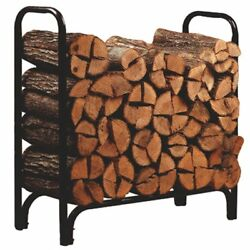 Deluxe Outdoor Log Rack Black 4-Feet Log Organizer Country Stove Fireplace