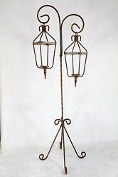 Wrought Iron Double Candle Stand with Lanterns Candelabra