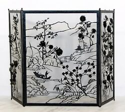 Art Deco Asian Black Painted Steel & Brass Fireplace Screen 1940s Floral