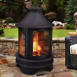 New Screened Fire Pit with Chimney Outdoor Firepit Cooking Solid Steel 49 H