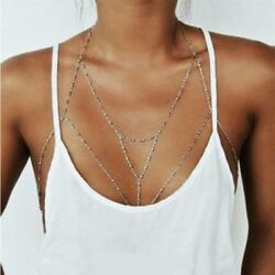 Body Chain Torso Harness Silver Boho Bohemian Gypsy Jewelry Beach Summer Wear
