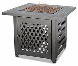 Outdoor Fire Pit Table Slate Insert Propane Gas Fireplace Patio Deck Modern New