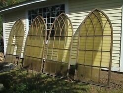 4 ARCH top WINDOWS antique OLD VARNISHED architectural DELIVERY-YES salvage part