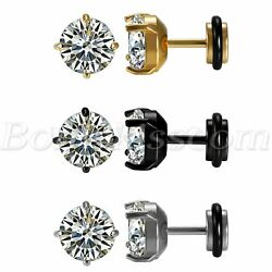 2pcs Men#x27;s Women#x27;s Stainless Steel Charm Round Cubic Zirconia Ear Studs Earrings $6.99