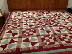 Queen size quilt hand made dutch amish this seasons first sewing hand stiched