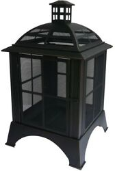 Outdoor Fireplace 28-12 Fully Enclosed Mesh Walls Hinged Door Air Vents Poker