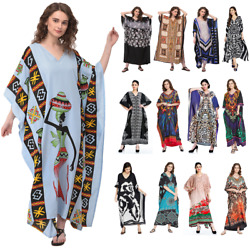 Women Plus Size Kaftan Boho Maxi Dress Night Gown Women's Sleeve Vintage Caftan $13.99