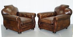 STUNNING PAIR OF ANTIQUE FRENCH HAND DYED CIGAR BROWN LEATHER CLUB ARMCHAIRS