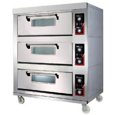 Baking Oven Electric Triple Deck Compartment 380 V50 Hz Commercial