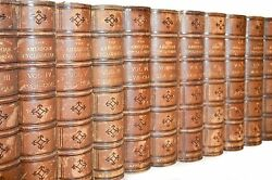 1873 Antique Leather Books Distressed Brown Encyclopedia Home Library Decor
