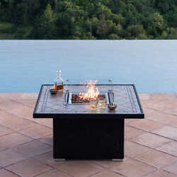 Fire Pit Table Propane Outdoor Backyard Patio Gas Heater Fireplace Deck Glass