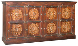 Moroccan Style Old Teak Wood Sideboard w Bone Inlay Solid RusticGorgeous!