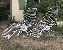 VERY RARE Pair Homecrest Vintage MCM Outdoor White Wrought Iron Lounge Chairs
