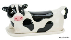 Cow lidded butter dish Novelty Ceramic holder by Boston Warehouse Great Gift $9.99