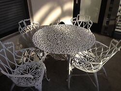 Beautiful Classic White 5 Piece Bistro Set from Beverly Hills Garden Estate