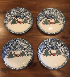 4 Folk Craft TIENSHAN Cabin in the Snow  Stoneware Dinner Plate Christmas