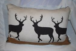 NEW Artisan de Luxe Woodland Deer Decorative Pillow Knit Christmas Lodge 16 x 24