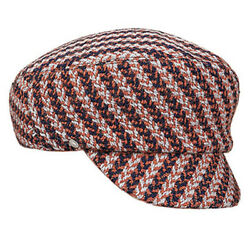 New Auth HERMES Hat Casquette PAOLA Wool Navy Gray Orange Mix color Women's